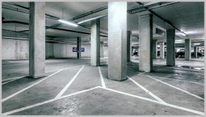 Black and White image of Car Park used by Parcel Delivery Scotland