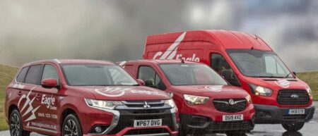 Mitsubisih Hybrid Electric Vehicle operated by Eagle Couriers in Scotland