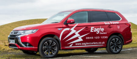 Mitsubishi Hybid EV operated by Eagle Couriers in Scotland